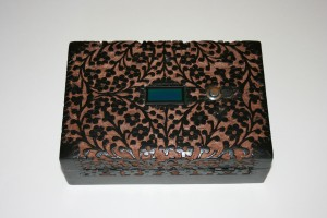 "The ""Black Floral"" prototype box"